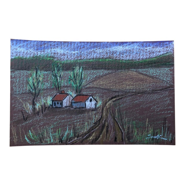 """Nancy Smith """"Countryside"""" Colored Pencil Drawing For Sale"""