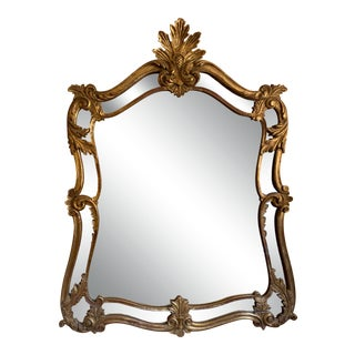 Early 20th Century Italian Double Frame Regency Gilt Wood Mirror For Sale
