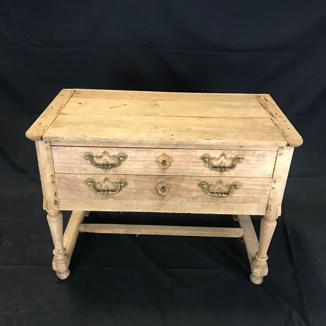 French Rustic Naturally Distressed Two Drawer Console Table Commode For Sale - Image 12 of 12