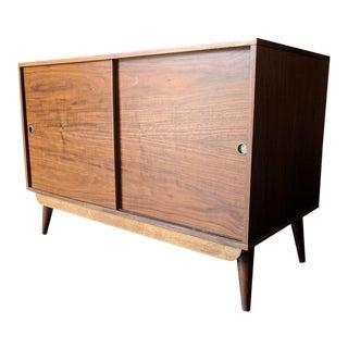 Mid Century Compact Refinished Walnut Sliding Door Record/Bar Cabinet