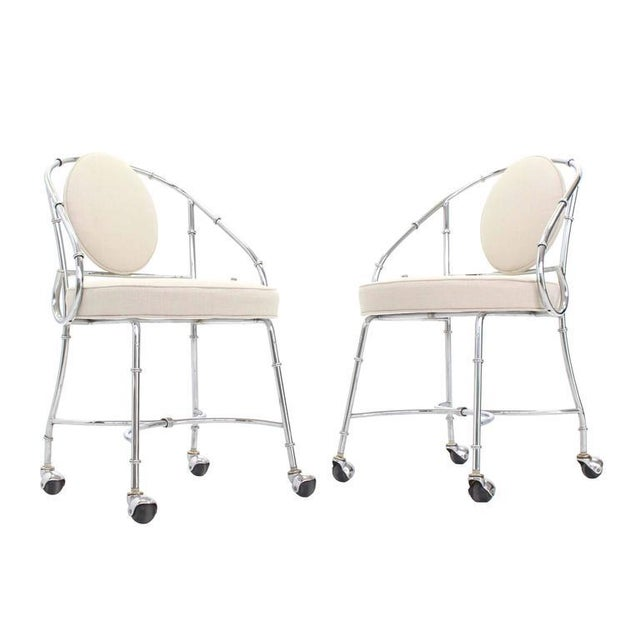 Chrome Pair of Faux Bamboo Chrome Fireside Lounge Side Chairs For Sale - Image 7 of 10