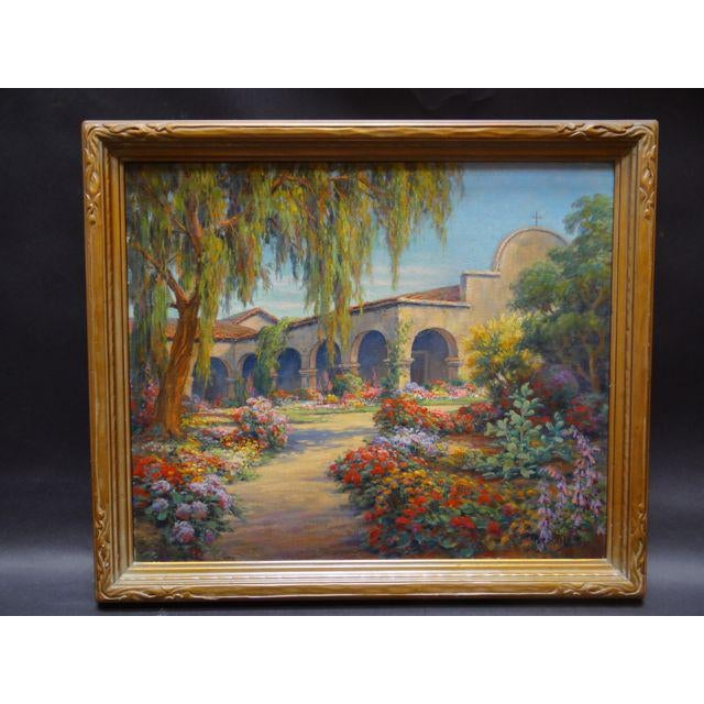 Canvas Early 20th Century Antique Marius Smith Mission Floral Landscape Painting For Sale - Image 7 of 9