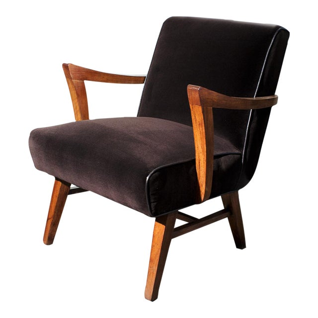 Wormley for Dunbar Style Brown Micro Velvet Armchair - Image 1 of 6