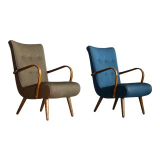 Pair of Danish 1950's Sculptural Lounge Chairs With Curved Wooden Armrests For Sale