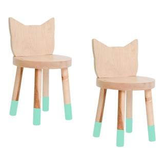 Nico & Yeye Kitty Kids Chair Solid Maple and Maple Veneers Mint - Set of 2 For Sale