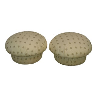 Postmodern Custom Upholstered Pair Mushroom Pouf Ottomans After Karl Springer For Sale