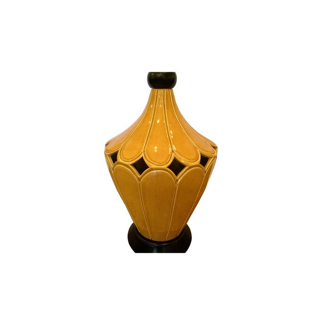 Vintage Mustard Ceramic Lamp For Sale - Image 4 of 7