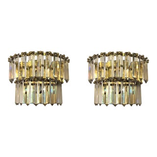 1970's Vintage French Crystal, Brass & Chrome Sconces- a Pair For Sale