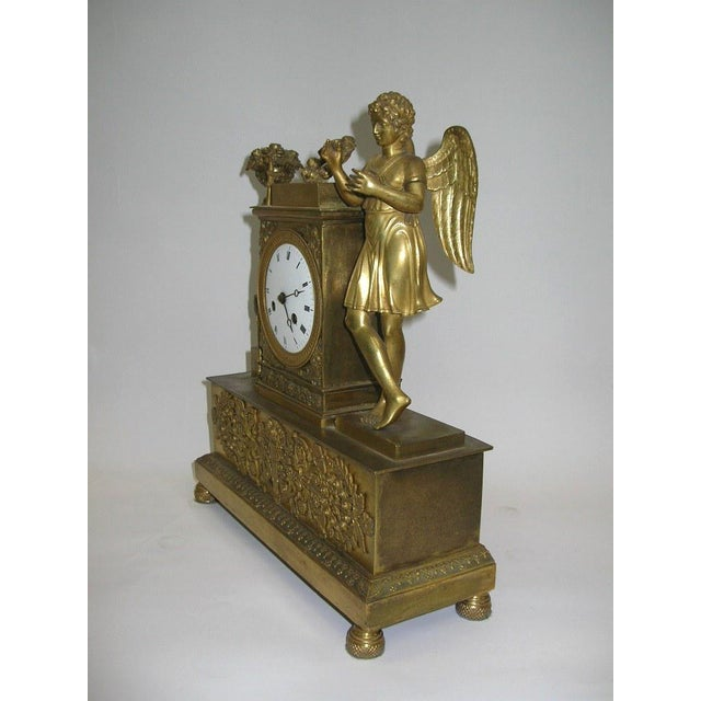 19th Century French Charles X Gilt Bronze Dore Figural Mantel Clock For Sale In New York - Image 6 of 11