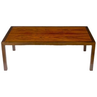 Edward Wormley for Dunbar Walnut and Rosewood Parsons Leg Coffee Table For Sale