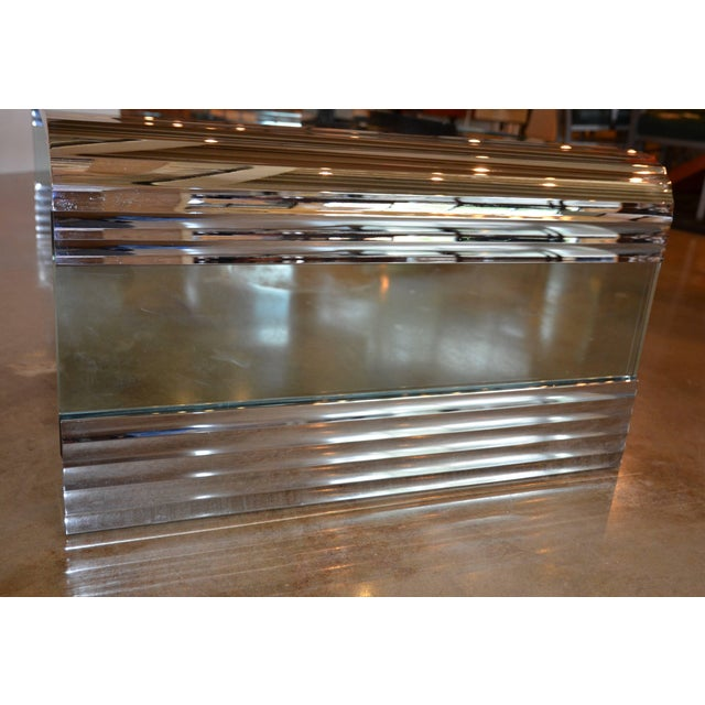 Large Chrome & Glass Leon Rosen Pace Collection Waterfall Cocktail Table 1970's For Sale - Image 10 of 11