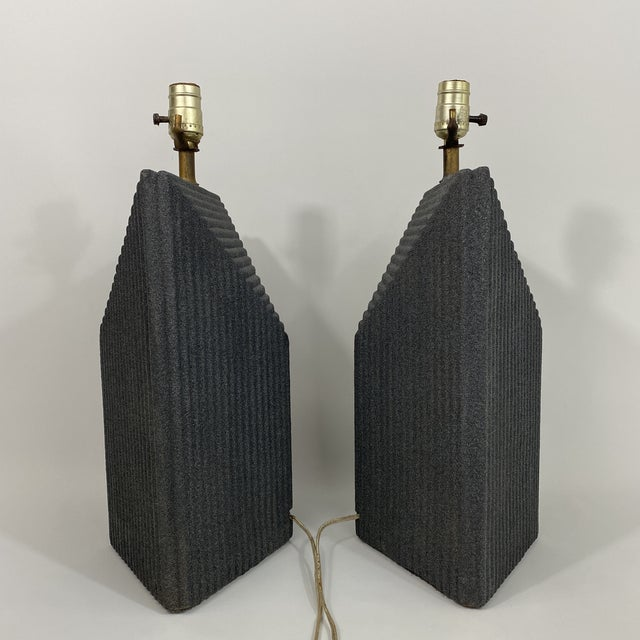 Slate Gray 1980s Grey Postmodern Stepped Ceramic Lamp Pair For Sale - Image 8 of 13