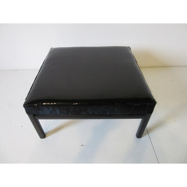 Mid 20th Century Mid Century Michael Taylor Baker Patent Leather and Pony Hide Ottoman For Sale - Image 5 of 11