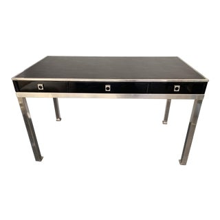 Lacquered Nickeled Brass Desk by Guy Lefevre, France. 1970s For Sale