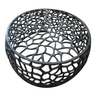 Black Metal Round Ottoman/Table For Sale