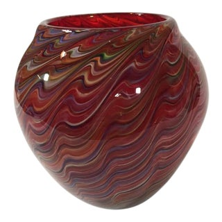 Contemporary Multi-Color Swirls Red Glass Vase For Sale