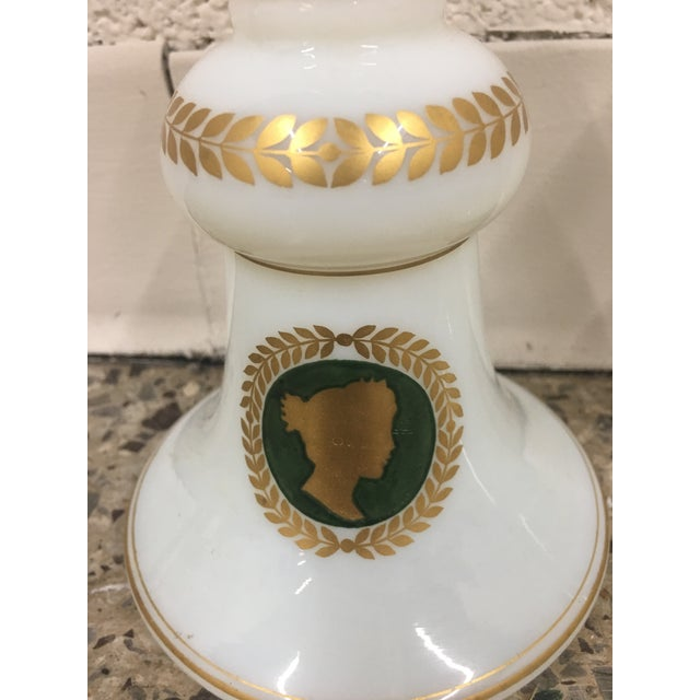 White Opaline Glass Decanters With Hand Painted Cameo Silhouettes - a Pair For Sale - Image 4 of 8