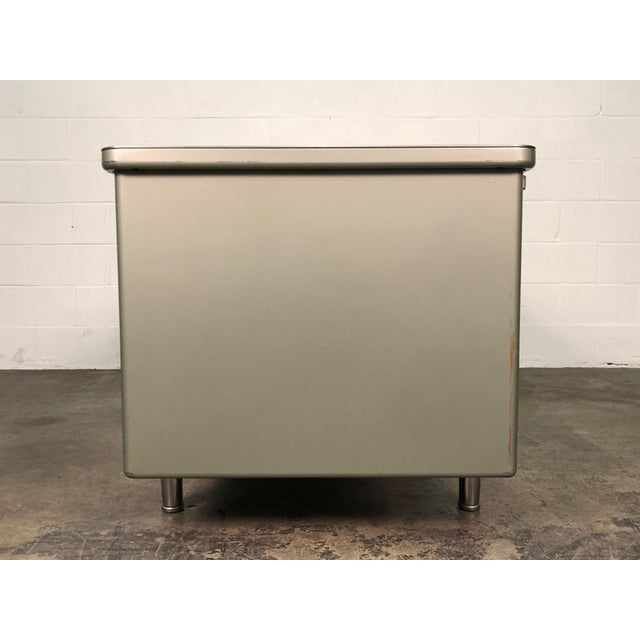 Green Steelcase Mid-Century Industrial Steel Tanker Desk For Sale - Image 8 of 13