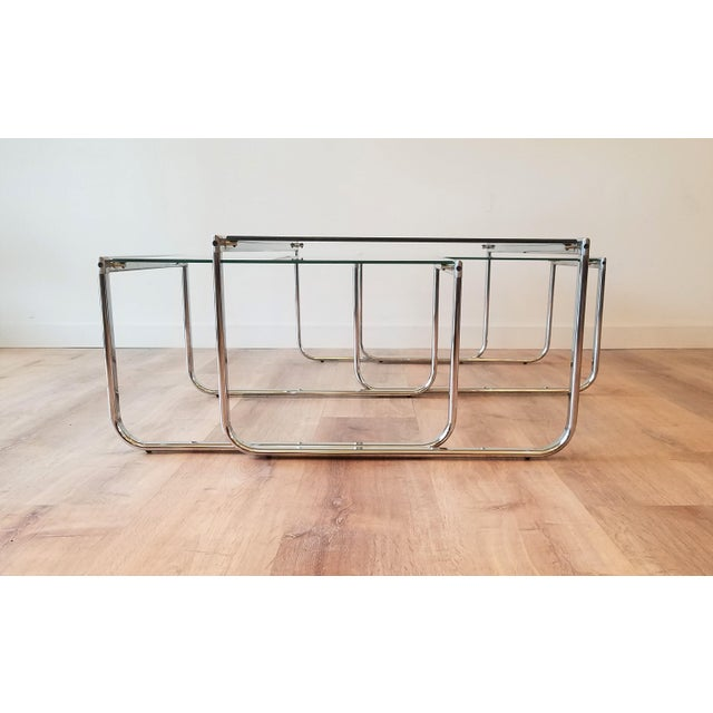 Chrome 1970s Glass and Chrome Coffee Table With Nesting Side Tables Made in Italy For Sale - Image 8 of 10