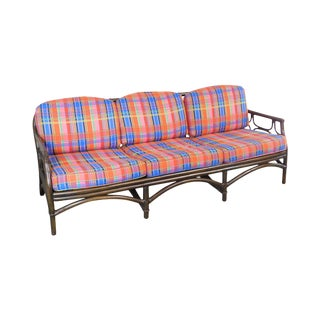 Ficks Reed Vintage Bamboo Rattan Long Sofa For Sale