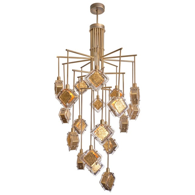 Murano Glass Gold and Bronze Chandelier For Sale - Image 13 of 13