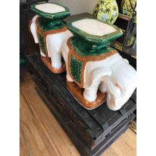 Italian Ceramic Elephant Garden Stools or Drinks Tables a Pair Preview