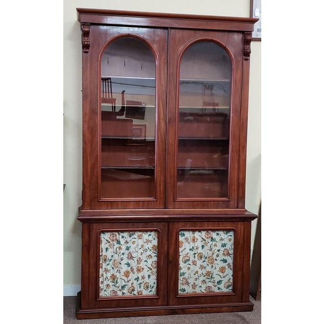 Brown Victorian Mahogany & Glass Door Cabinet. For Sale - Image 8 of 8