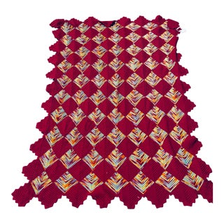 Crocheted Wool Afghan With Assorted Colors For Sale