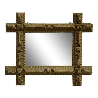 Tramp Art Frame With Mirror For Sale