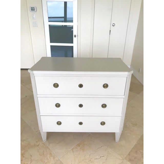1970s Swedish Gustavian Chest of Drawers Hand Painted in Ivory For Sale - Image 5 of 13