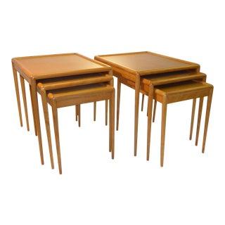 Pair of T.H. Robsjohn Gibbings Mid-Century Modern Nesting Tables Sets For Widdicomb For Sale