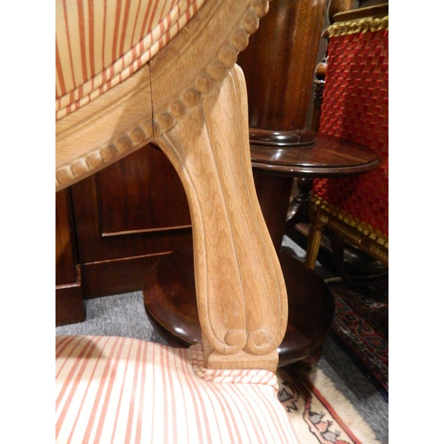 Louis XVI Style Limed Wood Settee or Loveseat, Late 19th or Early 20th Century For Sale - Image 4 of 11