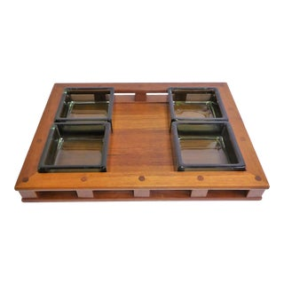 Dansk IHQ Modern Teak Tray with Glass Inserts, Quistgaard, Denmark