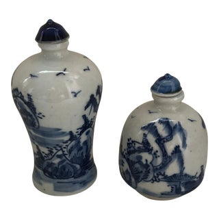 Chinese Blue & White Porcelain Painted Landscape Bottles - A Pair