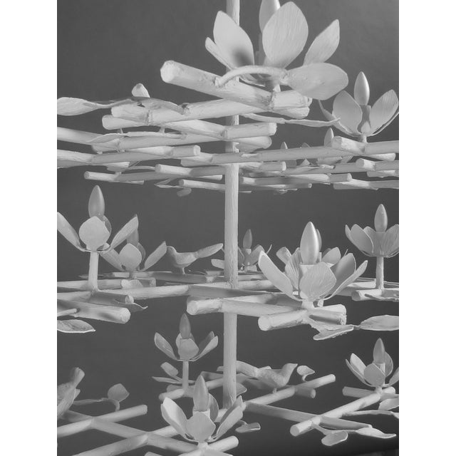 Contemporary 3 Layer Garden Plaster Chandelier With White Finish For Sale - Image 3 of 7