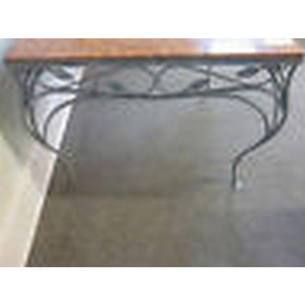 Salterini Square Ornate Iron Marble Top Patio Outdoor Dining Table For Sale In Philadelphia - Image 6 of 12
