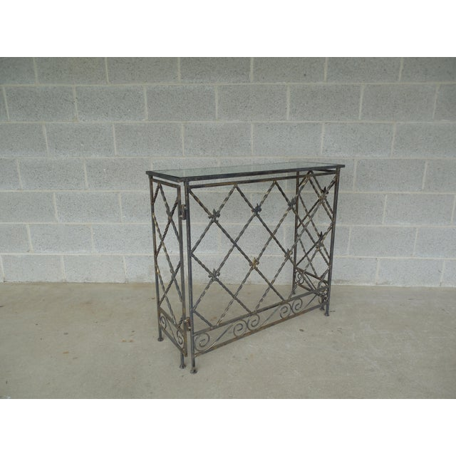 "Designer French Style Heavy Wrought Iron Glass Top Console 35""w X 12""d For Sale - Image 13 of 13"