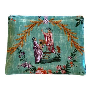 Large Pierre Frey Chinoiserie Lacquered French Tray For Sale
