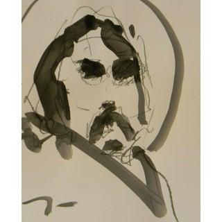 Jose Trujillo Acrylic Painting on Paper - Minimalist Figure Portrait For Sale