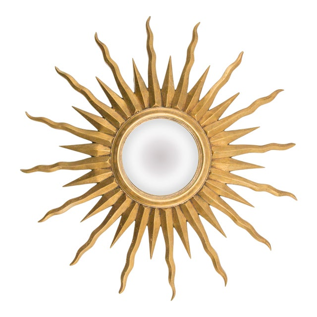 French Giltwood Convex Sunburst Mirror For Sale