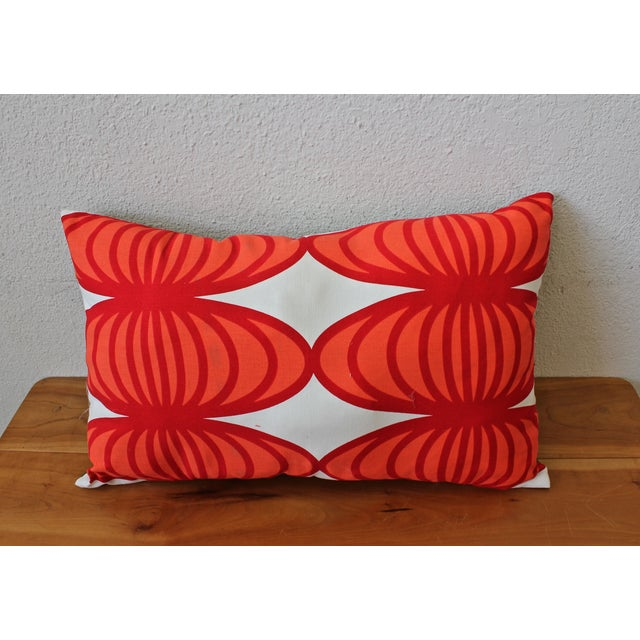Red and White Patterned Pillow - Image 3 of 3