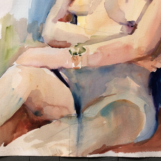 Contemporary Large Vintage Original Female Nude Watercolor Painting Study For Sale - Image 3 of 5