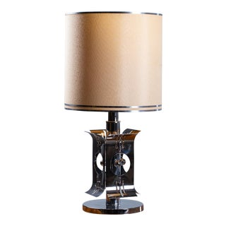 1970s Vintage Italian Chrome Table Lamp For Sale