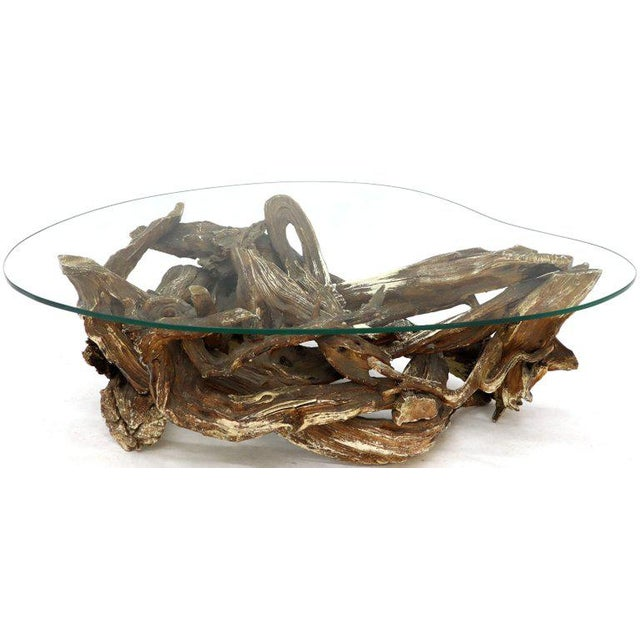 Gesso Washed and Stained Kidney Shape Glass Top Natural Driftwood Coffee Table For Sale - Image 12 of 13
