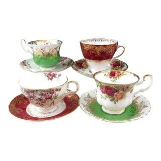 Vintage Mismatched Bone China Tea Cups & Saucers - Set of 4
