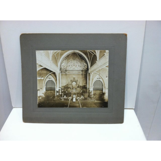 "Early 20th Century Antique ""Church Alter"" Mounted Black & White Photograph For Sale - Image 4 of 4"