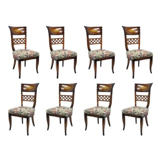 Set of 8 Italian Neoclassical Style High Back Lattice & Brass Inlay Dining Chairs For Sale