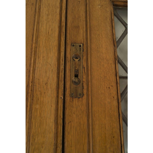 Wood Large Pair of 19th C. American Leaded Glass Golden Oak Doors For Sale - Image 7 of 9