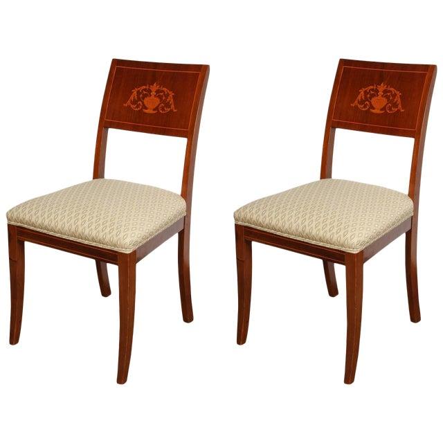 Pair of 19th Century Danish Inlaid Mahogany Chairs For Sale