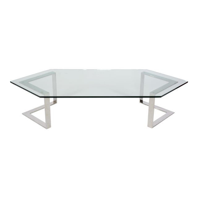 Chrome And Glass Coffee Table By Directional - Image 1 of 10